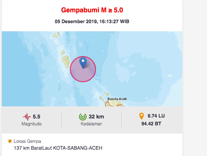 Gempa M 5 5 Terjadi Di Sabang Dialeksis Dialetika Dan Analisis