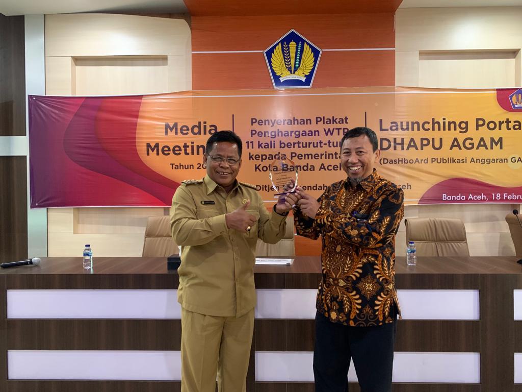 Raih WTP 11 Kali Berturut-Turut, Banda Aceh Raih Penghargaan Khusus Dari Kemenkeu RI