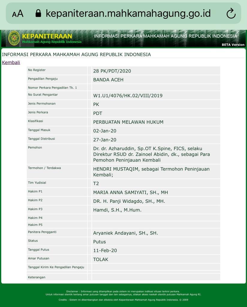 MA Tolak PK RSU Zainal Abidin