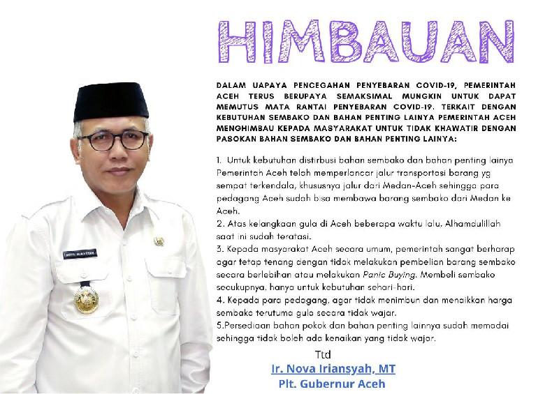 Minta Masyarakat Tidak Panik Soal Sembako, Ini Imbauan Lengkap Plt Gubernur Aceh