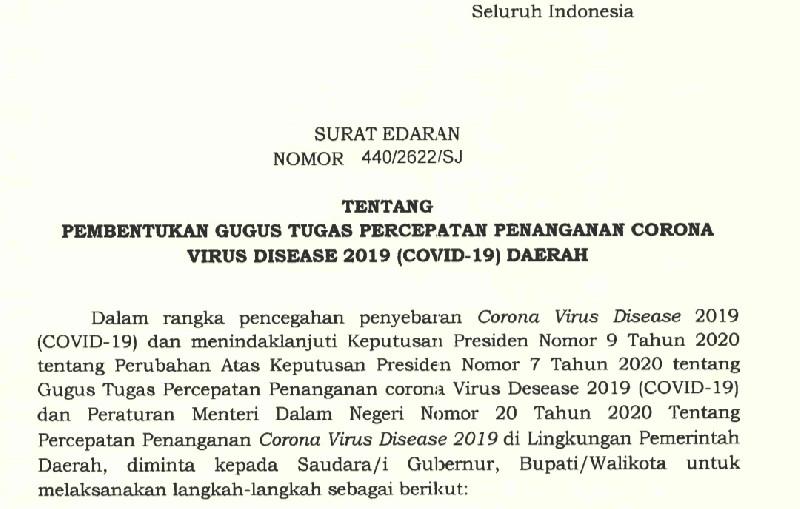 Mendagri Minta Gubernur, Bupati dan Walikota Jadi Ketua Gugus Tugas COVID-19