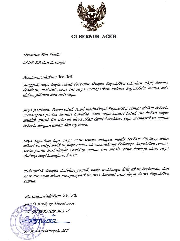 Teruntuk Petugas Medis, Ini Ungkapan Plt Gubernur Aceh Buat Kalian