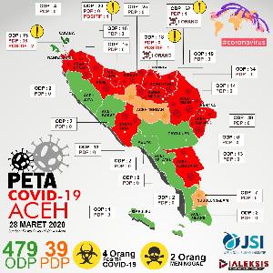 Peta Covid-19 Aceh Tanggal 28 Maret 2020