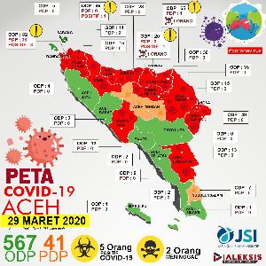 Peta Covid-19 Aceh Tanggal 29 Maret 2020