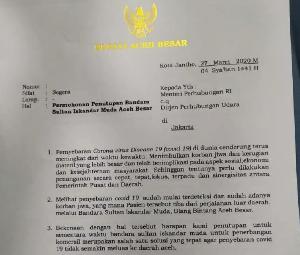 Cegah Corona, Bupati Aceh Besar Surati Kemenhub Minta Bandara SIM Ditutup