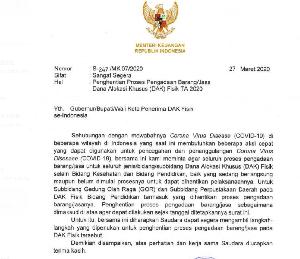 Menkeu Surati Seluruh Kepala Daerah, Stop Pengadaan Barang/Jasa dari Dana DAK