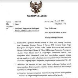 Pemerintah Aceh Siapkan Anggaran Tanggap Darurat Untuk Masyarakat Terdampak Corona