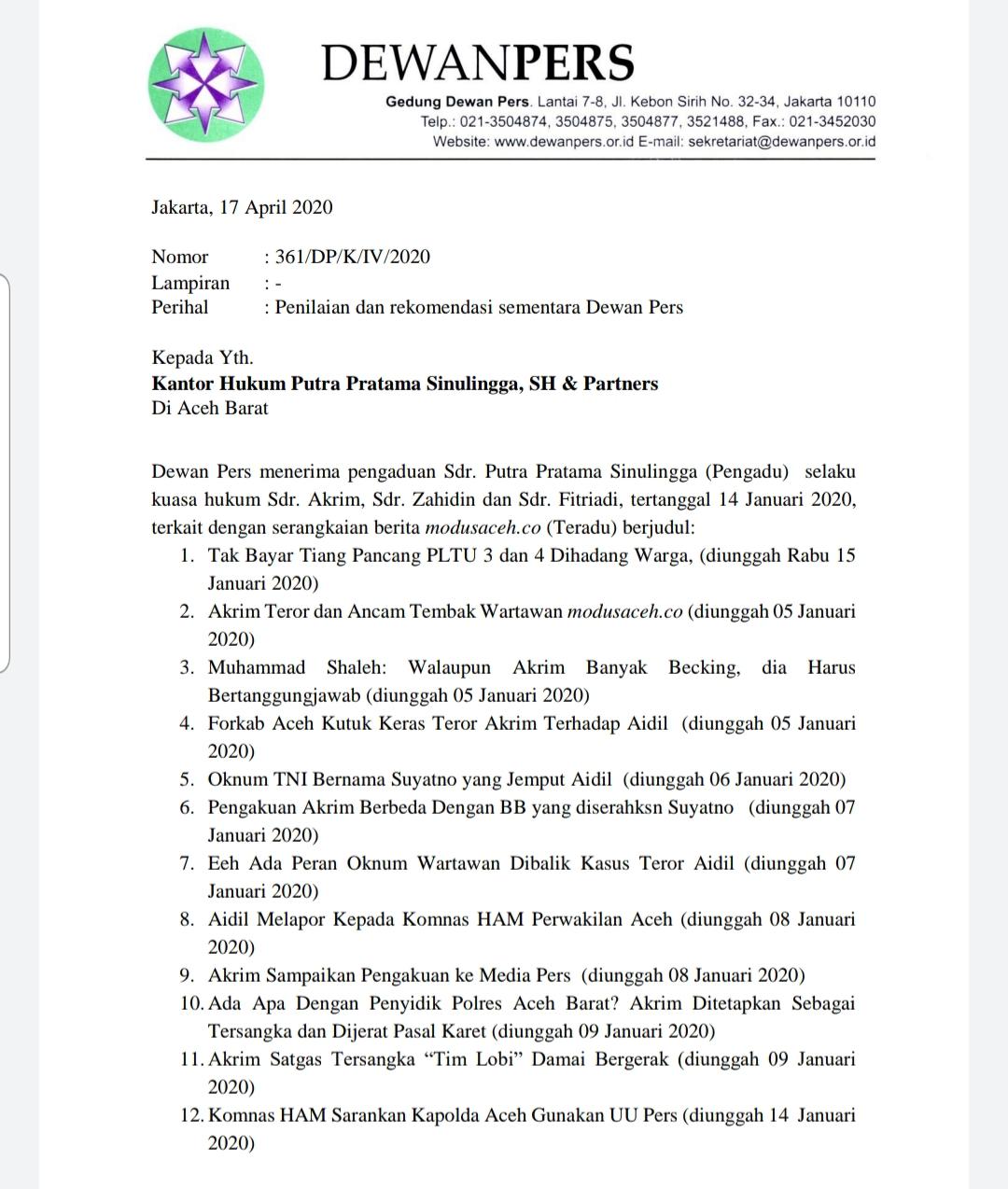 Dewan Pers: Modusaceh.co Diminta Muat Hak Jawab dan Permohonan Maaf