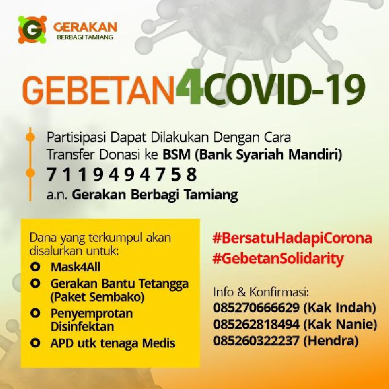 Yayasan Gebetan Galang Donasi untuk Bantu Dampak COVID-19