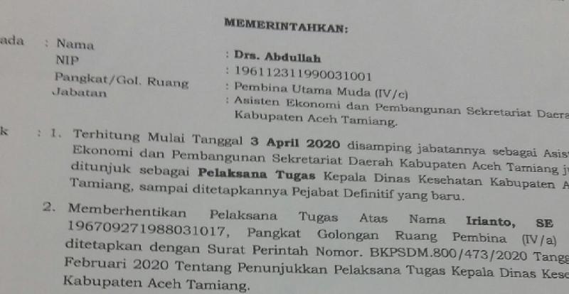 Asisten Ekonomi dan Pembangunan Jabat Plt Kadinkes Aceh Tamiang