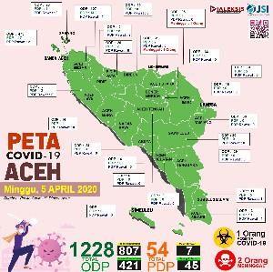 Peta Covid-19 Aceh Tanggal 5 April 2020