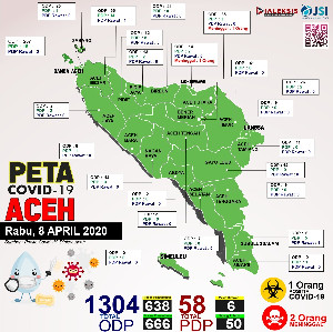 Peta Covid-19 Aceh Tanggal 8 April 2020