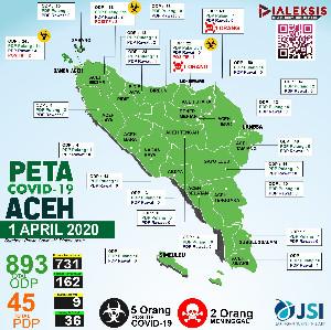 Peta Covid-19 Aceh Tanggal 1 April 2020