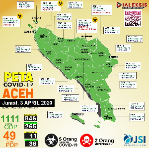 Peta Covid-19 Aceh Tanggal 3 April 2020