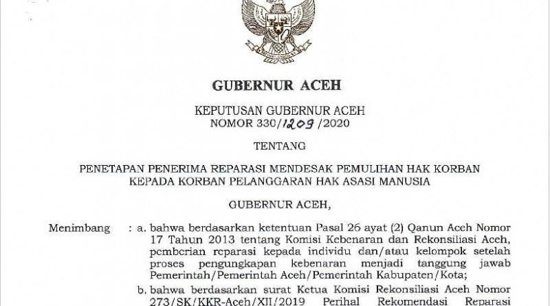 Konsultan Kontras Aceh Berikan Apresiasi Terhadap Kepgup Penerima Reparasi Korban Konflik