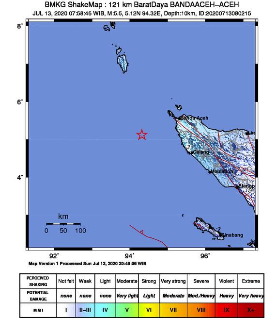 Gempa Bumi M 5,0 Mengguncang Banda Aceh dan Aceh Besar, Tidak Berpotensi Tsunami