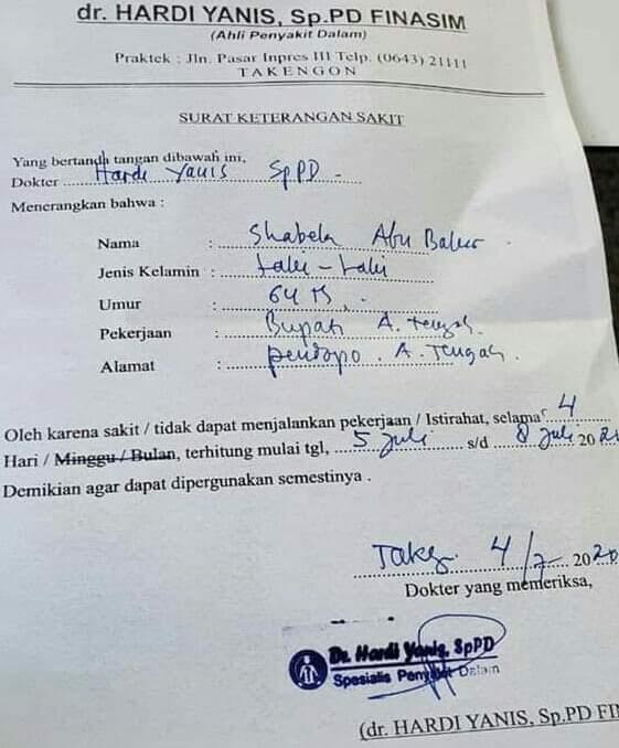 Tak Hadir Upaya Damai, Ini Surat Bukti Bupati Aceh Tengah Sedang Sakit