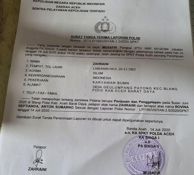 Diduga Terlibat Tipu Nasabah BRI, YARA Lapor Anggota DPRK Abdya ke Polisi