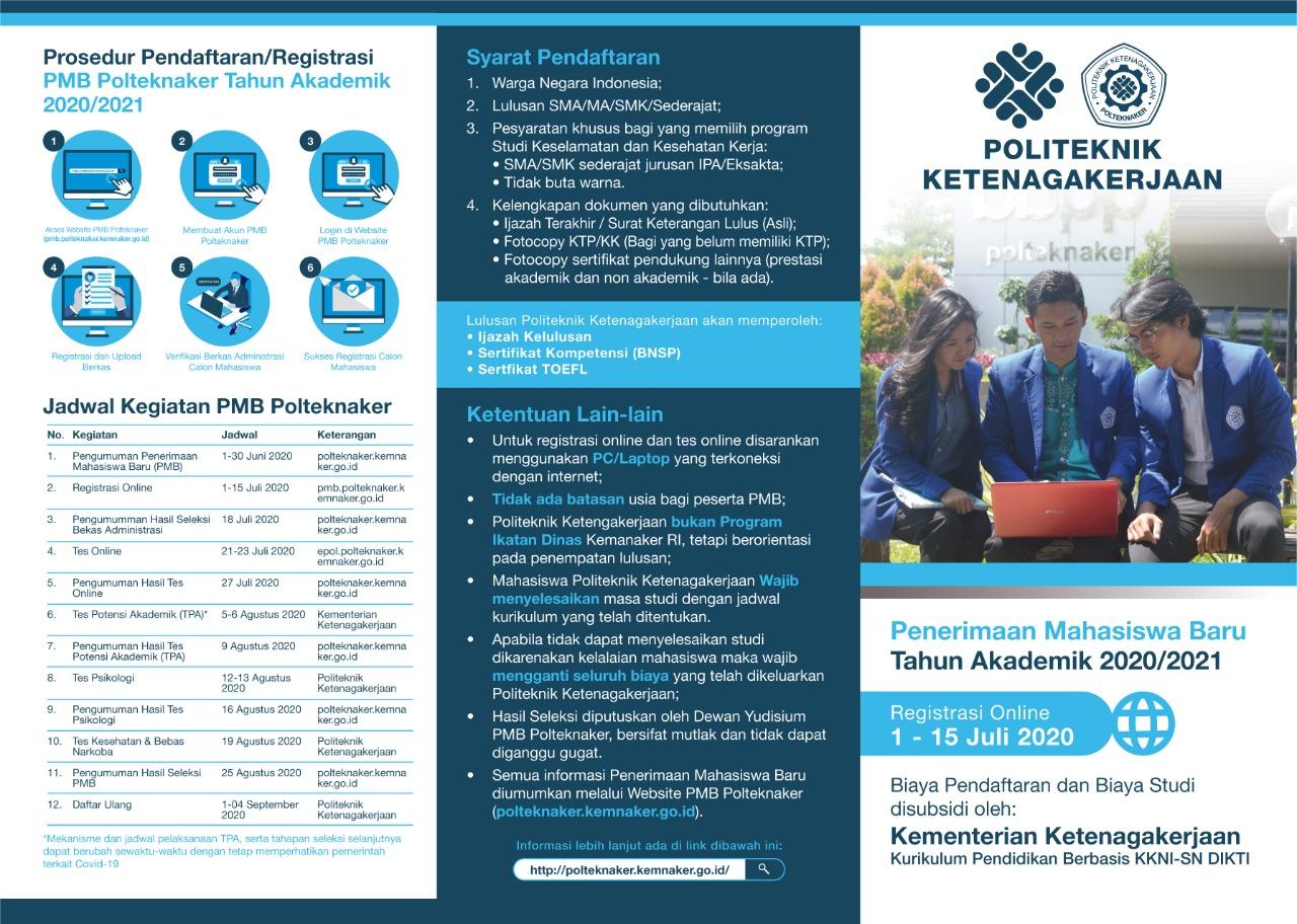 Prosedur Pendaftaran/Registrasi PMB Polteknaker Tahun Akademik 2020/2021