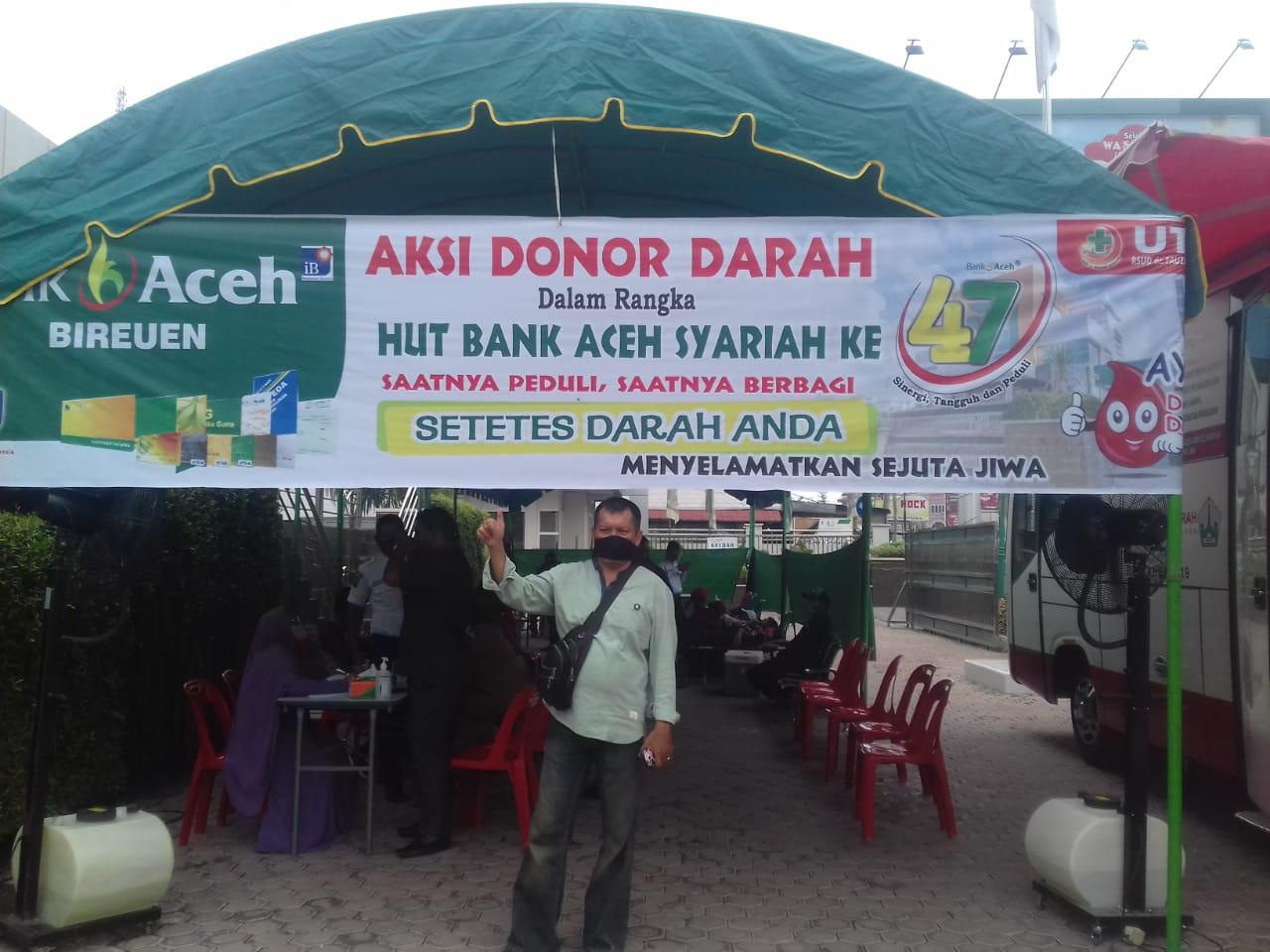 Peringati Hari Jadi Ke-47, Bank Aceh Syariah Bireuen Gelar Donor Darah