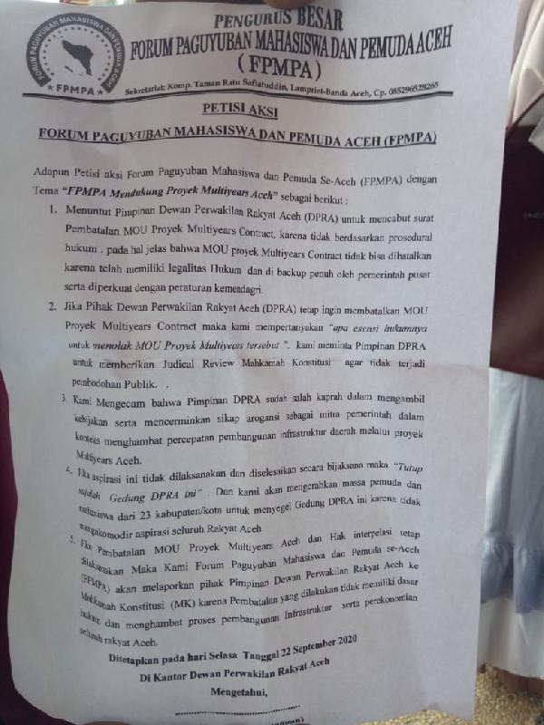Ini Lima Poin Tuntutan FPMPA Kepada DPRA