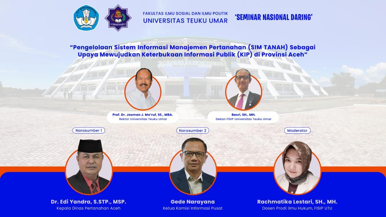 UTU Meulaboh Seminar Online Nasional 'Pengelolaan Sistem Informasi Manajemen Peranan dan Keterbukaan Informasi Publik di Aceh'