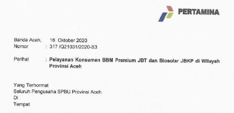Kebijakan Stiker BBM Khusus Dicabut, Pertamina Surati Seluruh SPBU di Aceh