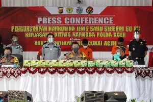 Polda Bersama Bea Cukai Aceh Gagalkan Penyelundupan 60 kilogram Sabu di Aceh Utara