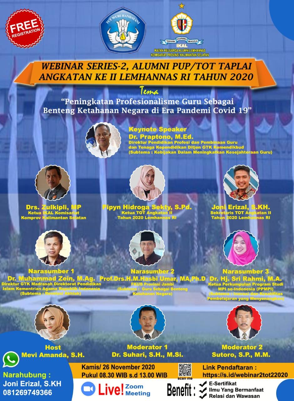 Peringati Hari Guru, Alumni PUP/ToT Angkatan ke II Lemhannas RI 2020 Gelar Webinar