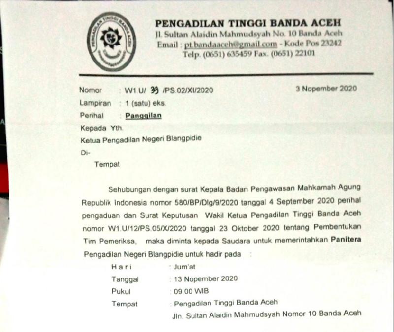 Ketua PN Blang Pidie, PN Tapaktuan dan Panitera PN Blangpidie Dilapor ke MA