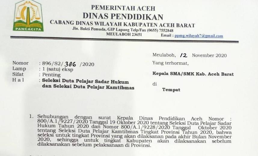 Seleksi Duta Pelajar Sadar Hukum dan Duta Pelajar Kamtibmas di Aceh Barat, Catat Tanggalnya