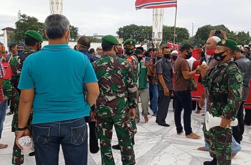 Kodim 0101/BS Tetap Serukan Prokes di tengah Aksi Peringatan Milad ke-44 GAM
