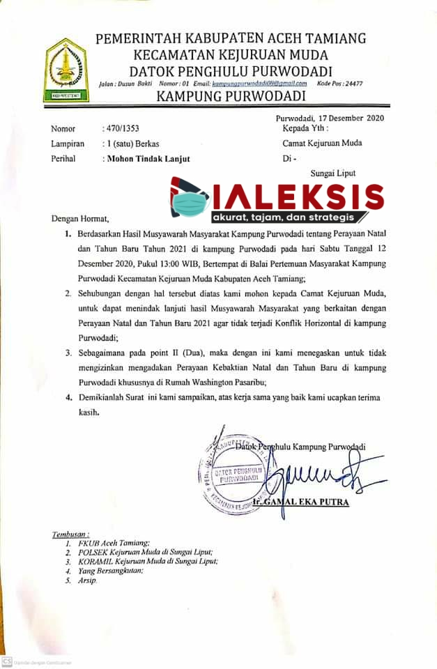 Kronologis Kepala Desa Di Aceh Minta Jangan Ada Kebaktian Natal Di Rumah Pribadi