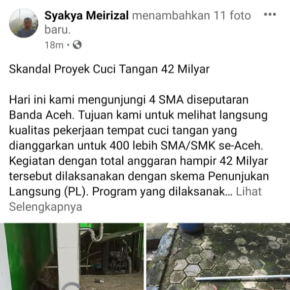 User Facebook, Sampaikan Kondisi Kualitas Program Disdik Aceh Rp 42 Milyar