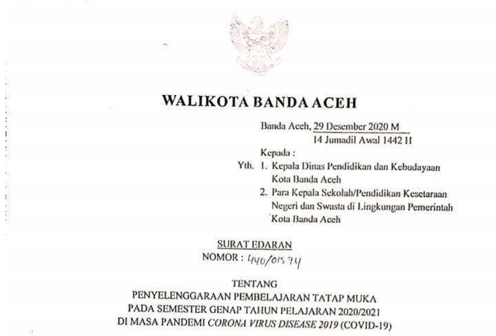 Pemko Banda Aceh Izinkan Pembelajaran Tatap Muka Mulai 4 Januari 2021