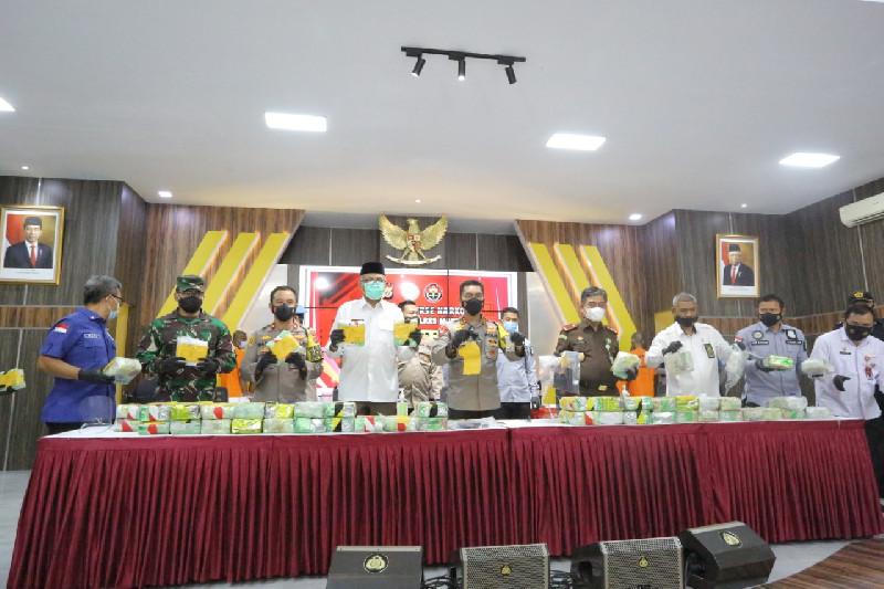 Kasdam IM Hadiri Press Conference Ungkap Jaringan Peredaran Narkotika di Polda Aceh