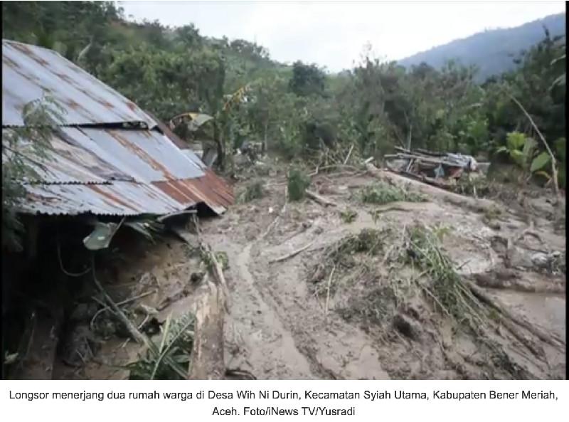 Akibat Longsor 2 Rumah Warga Bener Meriah Hancur Tertimbun Tanah