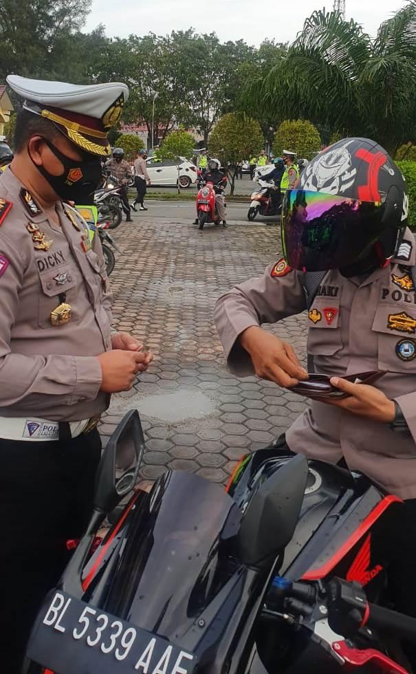 Ditlantas dan Propram Polda Aceh Razia Kenderaan Anggota Polri