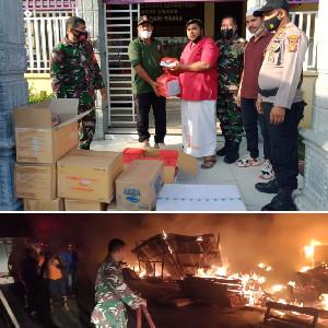 9 Rumah Musnah Terbakar, TNI Bersama Pemko Langsa Serahkan Bantuan Masa Panik