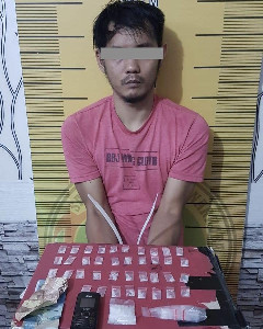 Gerebek Rumah, Polres Langsa Amankan Tersangka Pemilik 39 Paket Sabu