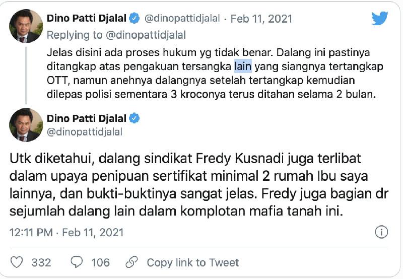Dino Patti Djalal Tak Gentar, Dipolisikan Karena Cuitan soal Mafia Tanah