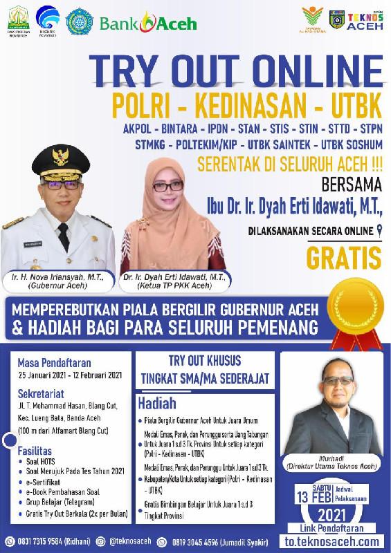 Ketua PKK Aceh Gelar Bersama Teknos Gelar Try Out Online SMA se-Aceh