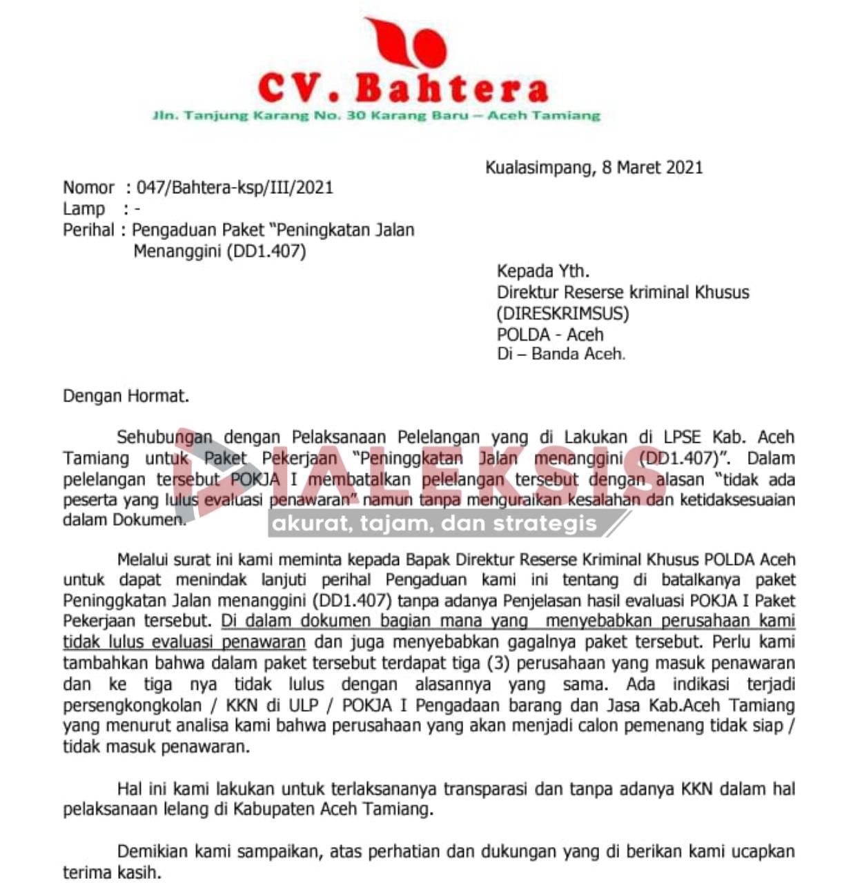 Paket Peningkatan Jalan Menanggini di Retender, Rekanan Aceh Tamiang Surati Polda Aceh