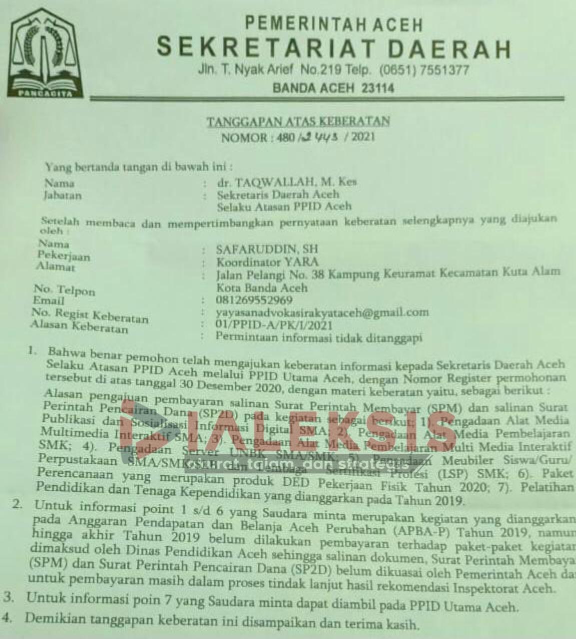 Sejumlah Paket Pengadaan Disdik Aceh TA APBA-P 2019 Belum dibayar