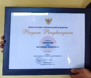 Media Pendukung Penangan Covid-19, Dialeksis Terima Penghargaan dari BNPB