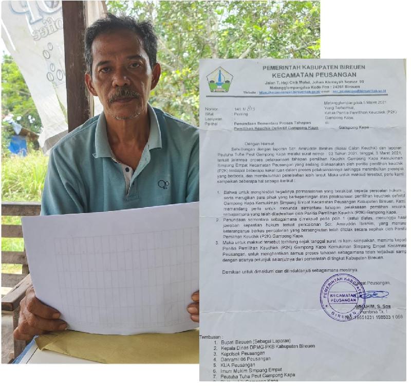 Camat Peusangan Tunda Pemilihan Keuchik GampongKapa, P2K Pertanyakan Dasar Hukum Ditunda