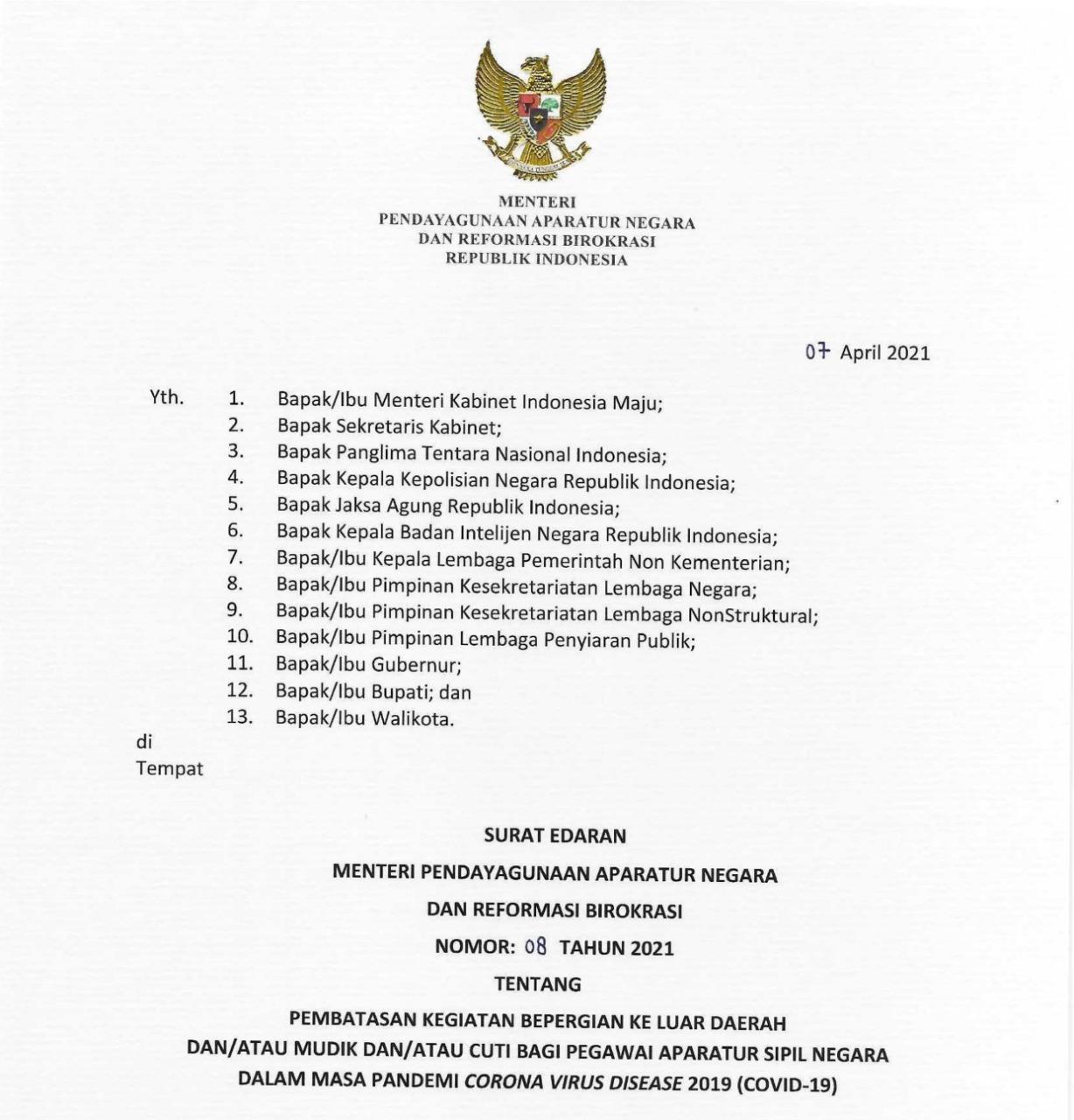Pemerintah Tetapkan Larangan Mudik Lebaran 2021 Bagi ASN