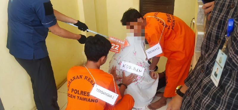 Polisi Gelar Rekontruksi Kasus Cucu Bunuh Nenek di Aceh Tamiang