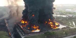 Gudang Logistik Pertamina di Rantau Terbakar