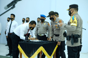 Polres Aceh Utara Gelar Apel Deklarasi Pencanangan Zona Integritas